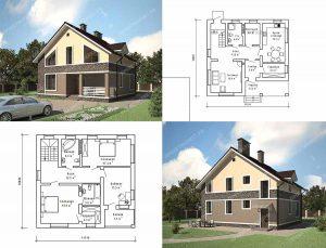 Пример проекта загородного дома К-152