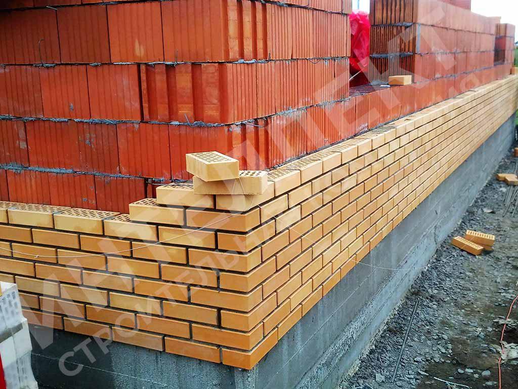 Вид кладки стены дома из керамоблока и как делается облицовка кирпичом