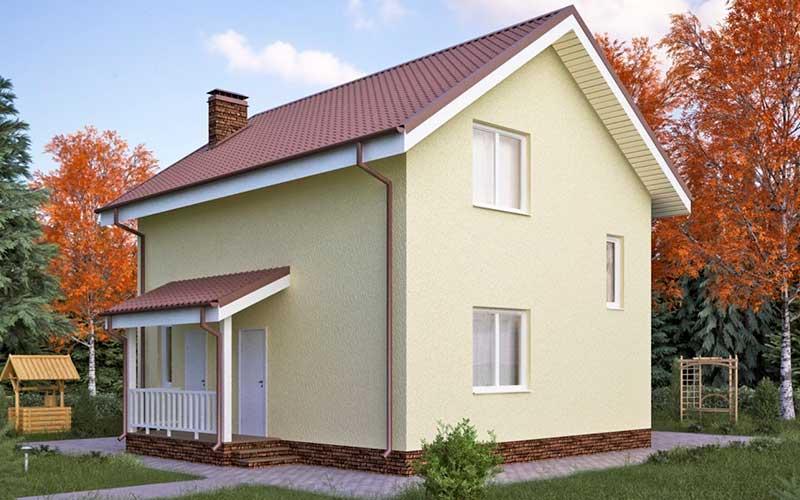 Пример проекта дома из твинблоков 8 на 8