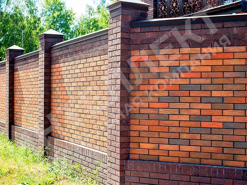 Кирпичный забор - пример работы готового забора номер 8