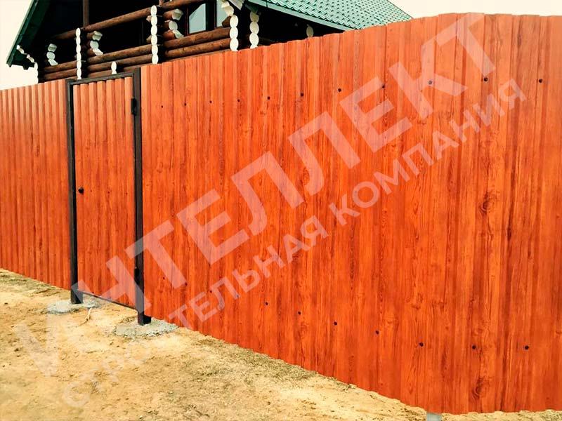 Забор из профлиста - пример работы готового забора номер 2