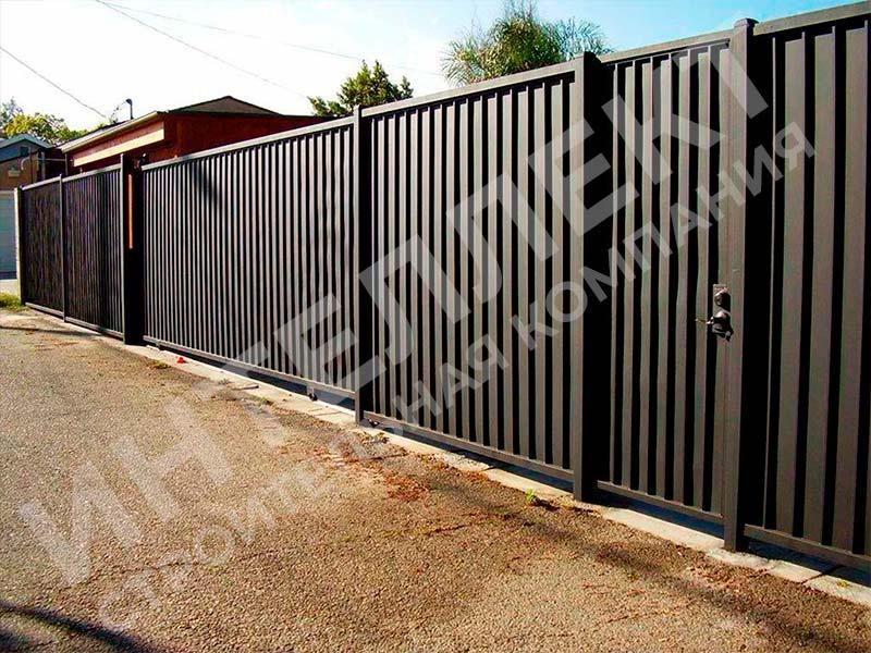Забор из профлиста - пример работы готового забора номер 4
