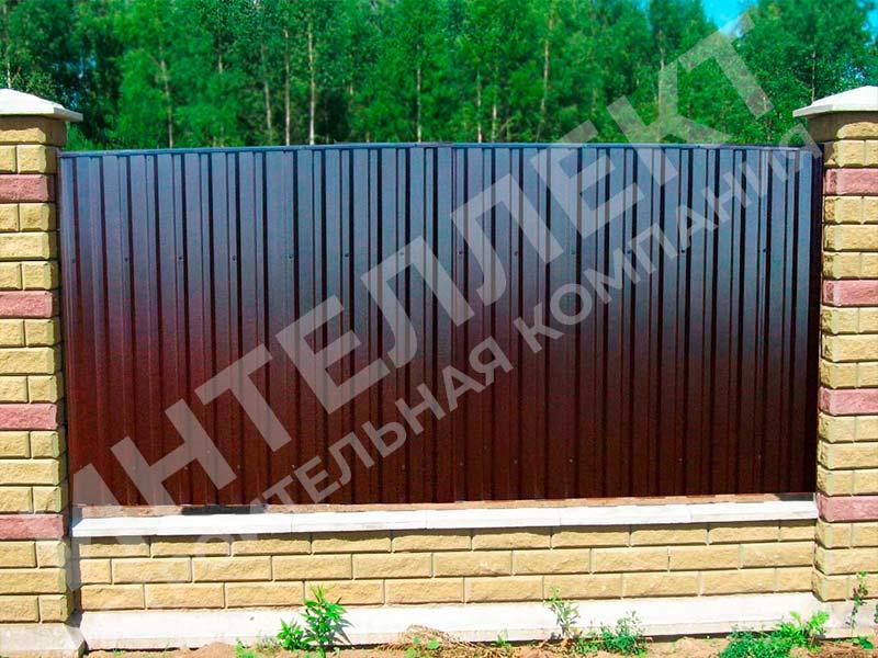 Забор из профлиста - пример работы готового забора номер 5