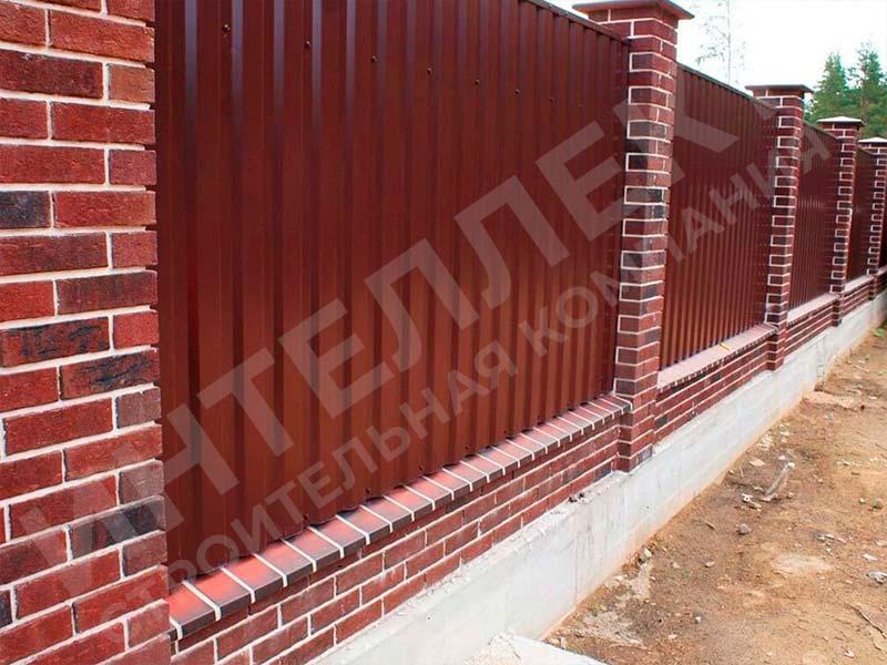 Забор из профлиста - пример работы готового забора номер 6