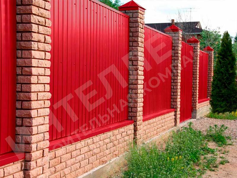 Забор из профлиста - пример работы готового забора номер 8